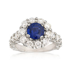 3.00 ct. t.w. Diamond and 2.35 Carat Sapphire Ring in 14kt White Gold, , default