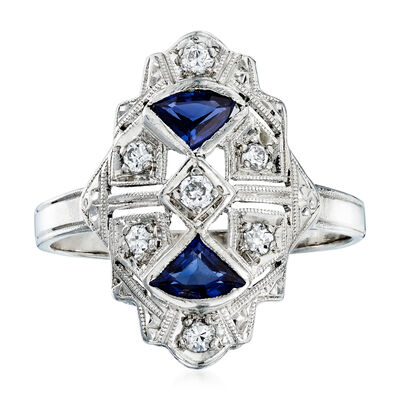 C. 1990 Vintage .25 ct. t.w. Sapphire and .15 ct. t.w. Diamond Ring in Platinum, , default