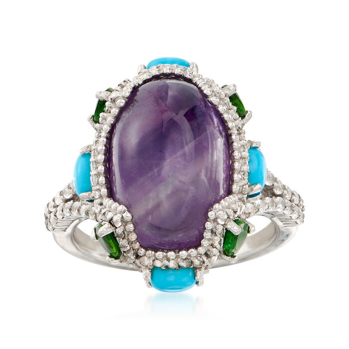 6.00 Carat Oval Amethyst and 2.30 ct. t.w. Mixed Gemstone Ring in Sterling Silver