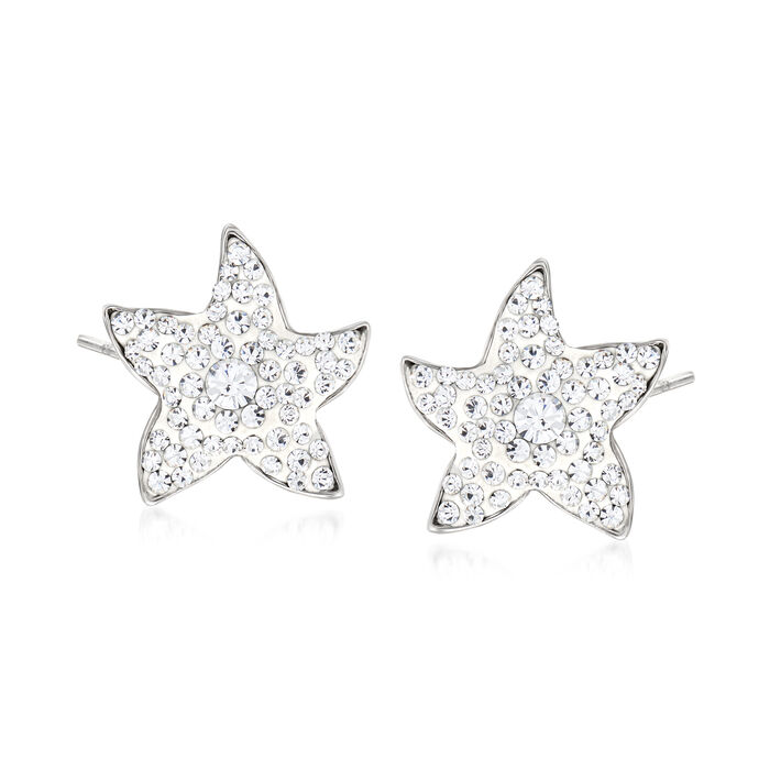 Crystal and White Enamel Star Earrings in Sterling Silver