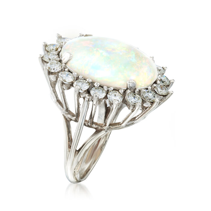 C. 1960 Vintage Opal and 1.75 ct. t.w. Diamond Ring in 14kt White Gold