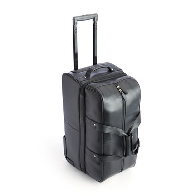 """Royce """"Executive Office"""" Black Leather Rolling Suitcase, , default"""