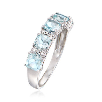 1.70 ct. t.w. Aquamarine Ring with Diamond Accents in 14kt White Gold