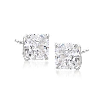 4.00 ct. t.w. Cushion-Cut CZ Stud Earrings in Sterling Silver, , default