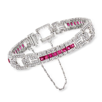 C. 1990 Vintage 4.00 ct. t.w. Ruby and 1.65 ct. t.w. Diamond Fancy Bracelet in 14kt White Gold, , default