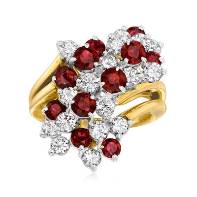 C. 1980 Vintage 2.75 ct. t.w. Ruby and 2.00 ct. t.w. Diamond Cluster Ring in 18kt Yellow Gold