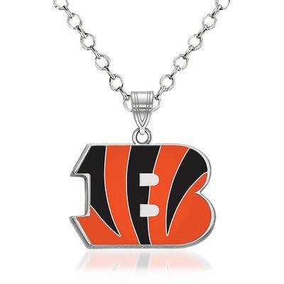 "Sterling Silver NFL Cincinnati Bengals Enamel Pendant Necklace. 18"", , default"