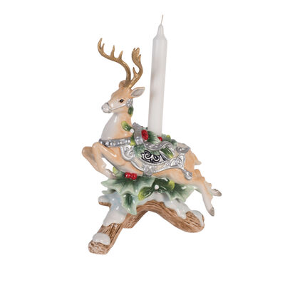 "Fitz and Floyd ""Bristol Holiday"" Deer Figurine Candle Holder, , default"