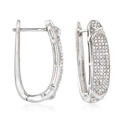 1.00 ct. t.w. Diamond Hoop Earrings in Sterling Silver, , default