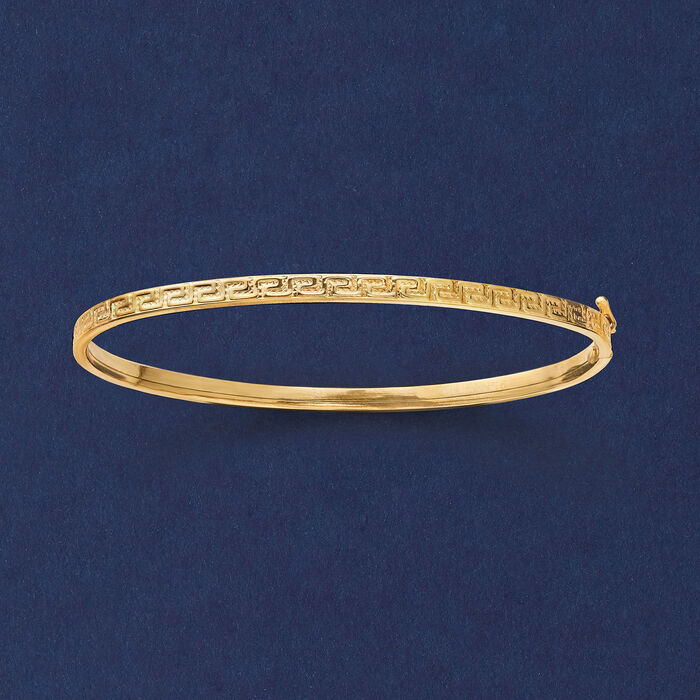 Italian 14kt Yellow Gold Greek Key Bangle Bracelet