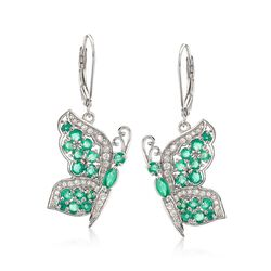 1.70 ct. t.w. Emerald and .50 ct. t.w. White Zircon Butterfly Earrings in Sterling Silver , , default