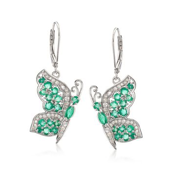 1.70 ct. t.w. Emerald and .50 ct. t.w. White Zircon Butterfly Earrings in Sterling Silver , , default
