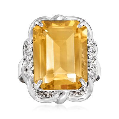 C. 2000 Vintage 9.00 Carat Citrine and .25 ct. t.w. Diamond Ring in Platinum