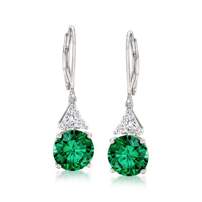 9mm Simulated Emerald and 1.00 ct. t.w. CZ Drop Earrings in Sterling Silver, , default