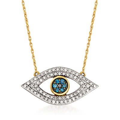.25 ct. t.w. Multicolored Diamond Evil Eye Necklace in 14kt Yellow Gold