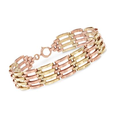 C. 1940 Vintage 14kt Two-Tone Gold Multi-Row Link Bracelet, , default