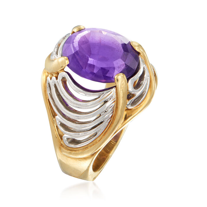 C. 1980 Vintage 3.55 Carat Amethyst Scalloped Ring in Platinum and 18kt Yellow Gold