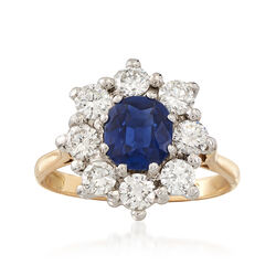 C. 1980 Vintage 1.17 Carat Sapphire and 1.00 ct. t.w. Diamond Ring in 18kt White and Yellow Gold, , default