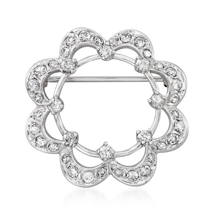 C. 1970 Vintage 1.00 ct. t.w. Diamond Flower Pin in 14kt White Gold