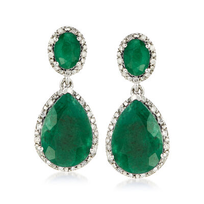 10.50 ct. t.w. Emerald and .35 ct. t.w. Diamond Drop Earrings in Sterling Silver