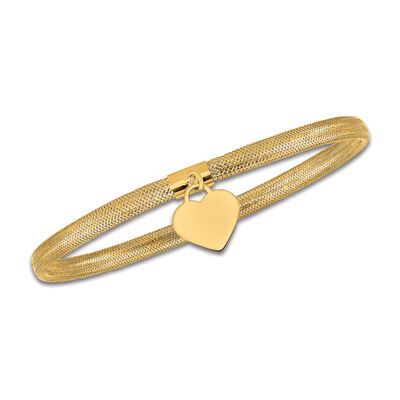 Italian 14kt Yellow Gold Heart Dangle Mesh Bracelet