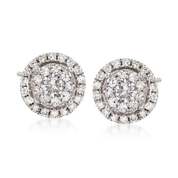 1.00 ct. t.w. Diamond Illusion Halo Stud Earrings in 14kt White Gold, , default