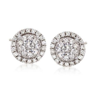 1.00 ct. t.w. Diamond Halo Stud Earrings in 14kt White Gold, , default
