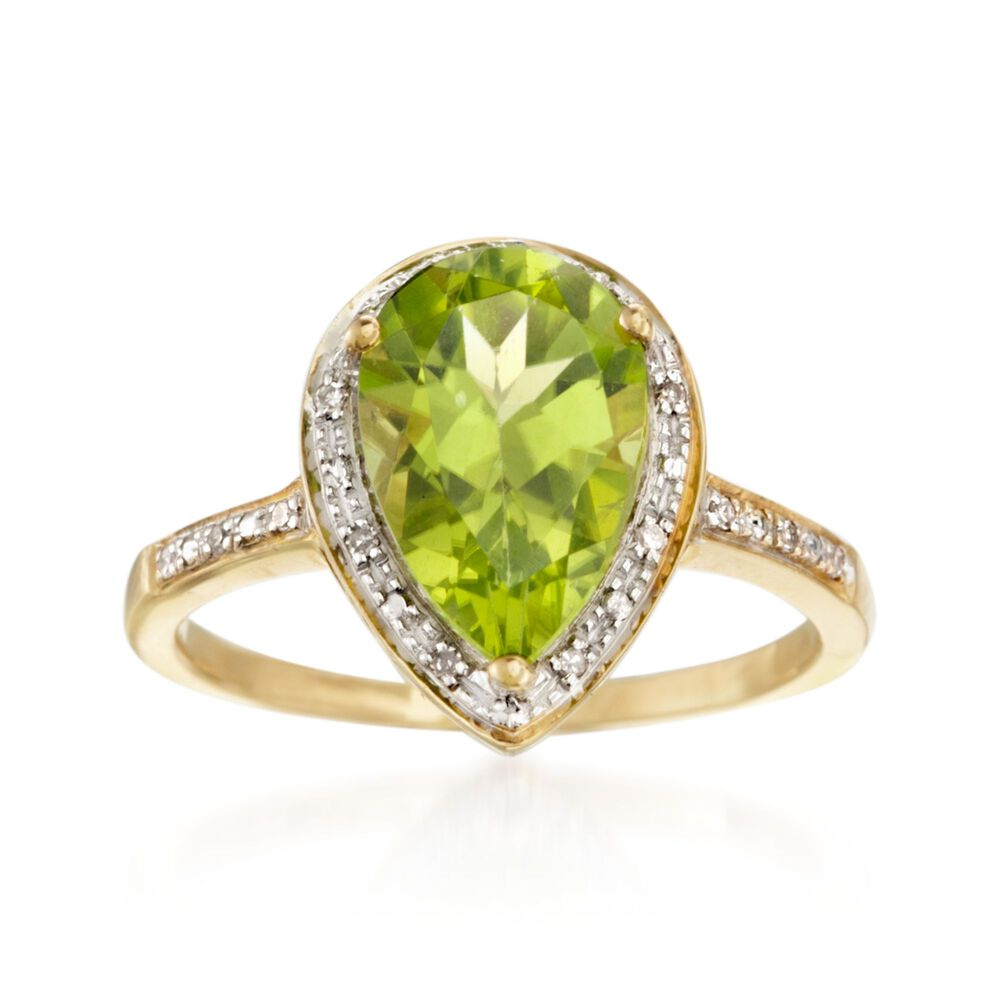73c7628fe01a6 2.80 Carat Peridot and .10 ct. t.w. Diamond Ring in 14kt Yellow Gold