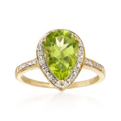2.80 Carat Peridot and .10 ct. t.w. Diamond Ring in 14kt Yellow Gold, , default