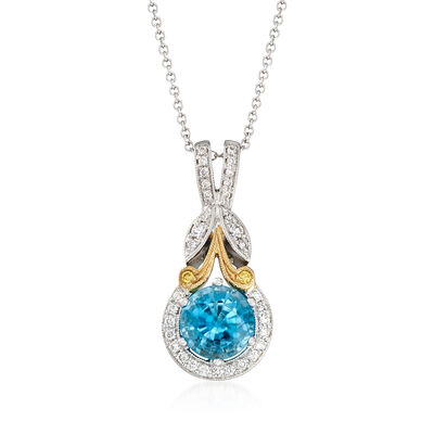 Simon G. 1.90 Carat Blue Zircon and .16 ct. t.w. Diamond Pendant Necklace in 18kt Two-Tone Gold