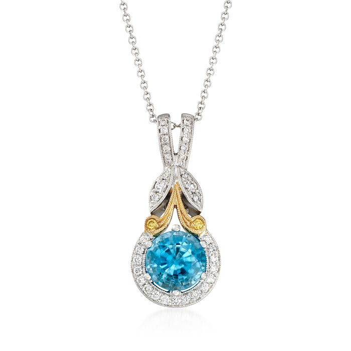 Simon G. 1.90 Carat Blue Zircon and .16 ct. t.w. Diamond Pendant Necklace in 18kt Two-Tone Gold. 17""