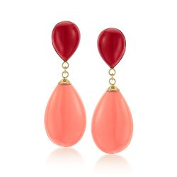 Red Coral and Light Coral Teardrop Earrings in 14kt Yellow Gold, , default