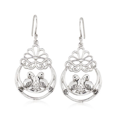 Sterling Silver Lovebirds Drop Earrings, , default