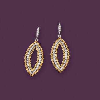 .50 ct. t.w. Diamond Open Marquise Drop Earrings in Two-Tone Sterling Silver