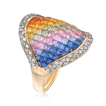 3.20 ct. t.w. Rainbow Sapphire and .43 ct. t.w. Diamond Ring in 14kt Yellow Gold, , default