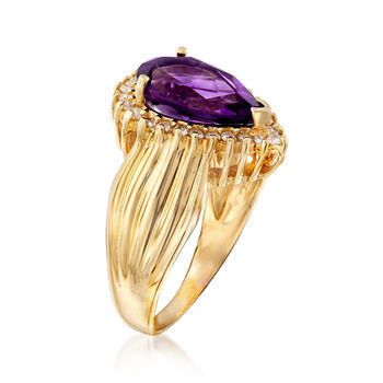 C. 1990 Vintage 2.45 Carat Amethyst and .30 ct. t.w. Diamond Ring in 14kt Yellow Gold. Size 7