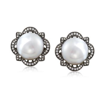 12-12.5mm South Sea Pearl and .78 ct. t.w. Diamond Earrings in 14kt White Gold, , default