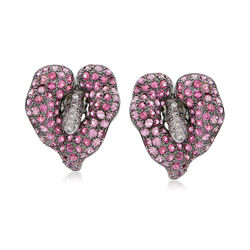 C. 1990 Vintage 4.30 ct. t.w. Pink Sapphire and .40 ct. t.w. Diamond Flower Earrings in 18kt White Gold , , default