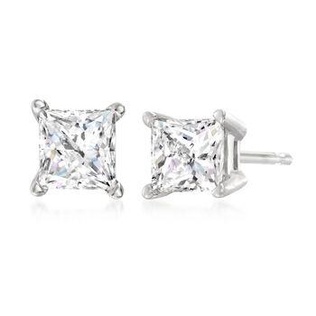 1.00 ct. t.w. Princess-Cut Diamond Stud Earrings in 14kt White Gold, , default
