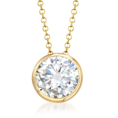 2.00 Carat Bezel-Set CZ Solitaire Necklace in 14kt Yellow Gold