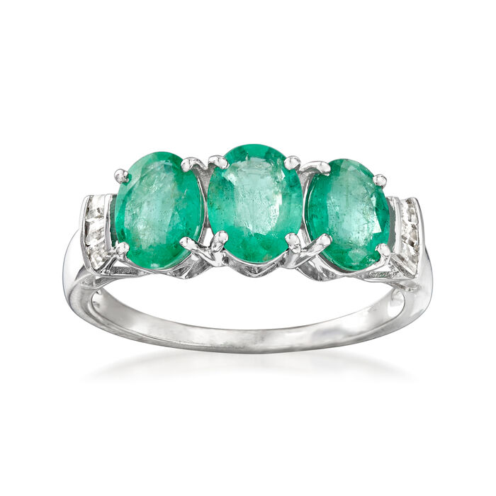 2.40 ct. t.w. Emerald and .20 ct. t.w. White Zircon Three-Stone Ring in Sterling Silver, , default
