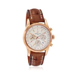 Breitling Transocean Men's 43mm Auto Chronograph 18kt Rose Gold Watch With Brown Crocodile, , default