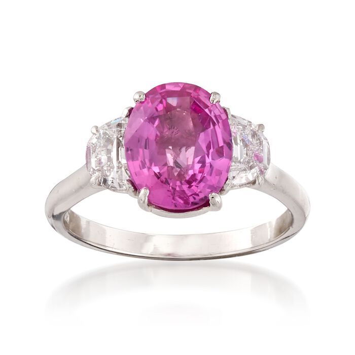 C. 2000 Vintage 2.60 Carat Pink Sapphire and .60 ct. t.w. Diamond Ring in Platinum. Size 6, , default