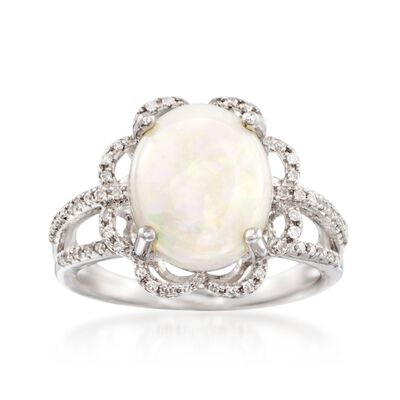 Opal and .21 ct. t.w. Diamond Ring in 14kt White Gold
