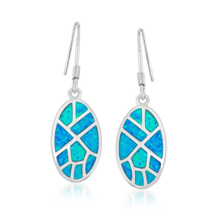 Blue Synthetic Opal Mosaic Drop Earrings in Sterling Silver, , default