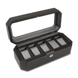"Wolf Designs ""Windsor"" Black Faux Leather Five-Part Watch Box, , default"