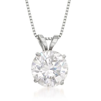 "1.50 Carat CZ Solitaire Necklace in 14kt White Gold. 18"", , default"