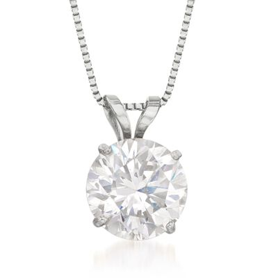 1.50 Carat CZ Solitaire Necklace in 14kt White Gold, , default