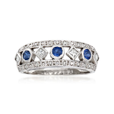 C. 1990 Vintage .37 ct. t.w. Diamond and .30 ct. t.w. Sapphire Ring in 18kt White Gold