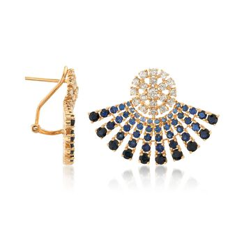 4.00 ct. t.w. Tonal Sapphire and .97 ct. t.w. Diamond Ombre Fan Earrings in 18kt Yellow Gold, , default